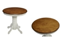 "Home Styles French Countryside 42"" Round Oak and Rubbed White Pedestal Table"