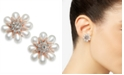 Charter Club Crystal & Imitation Pearl Flower Stud Earrings, Created for Macy's