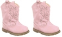 Baby Deer Baby Girl Western Boot Round Toe with Embroidery and Piping
