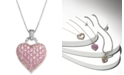 Macy's Pink Sapphire (2-1/4 ct. t.w.) and Diamond Accent Heart Pendant Necklace in Sterling Silver (Also Available in Sapphire and Ruby)