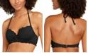 SUNDAZED Solid Nixie Bra Sized Ruffle Edge Halter Bikini Top, Created for Macy's