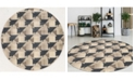 "KM Home CLOSEOUT! 3794/1005/GrayBONE Imperia Gray 7'10"" x 7'10"" Round Area Rug"