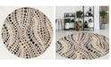 "KM Home CLOSEOUT! 3795/1004/BONE Imperia Ivory/ Cream 5'3"" x 5'3"" Round Area Rug"