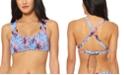 Jessica Simpson Palmy Days Printed O-Ring Smocked Bralette Bikini Top