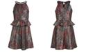 Monteau Big Girls Sparkle Printed Peplum Dress