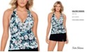 Swim Solutions Vintage Bouquet Tiered Halter Tankini Top, Created for Macy's