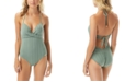 Vince Camuto Ripple Effect Wrap-Front One-Piece Swimsuit