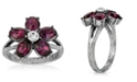 2028 Pewter and Clear Crystal Floral Ring
