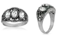 2028 Pewter Triple Clear Crystal Oval Ring