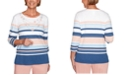 Alfred Dunner Pearls of Wisdom Embellished-Neck Striped Top