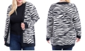 Fever Plus Size Zebra-Print Open-Front Cardigan