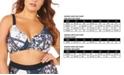 Raisins Curve Trendy Plus Size Juniors' Las Brisas Printed V-Wire Underwire Bikini Top
