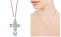 "EFFY Collection EFFY® Aquamarine (2 ct. t.w.) & Diamond (1/10 ct. t.w.) 18"" Pendant Necklace in 14k Rose Gold"
