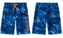 Calvin Klein Big Boys Abstract Wave-Print Logo Swim Trunks