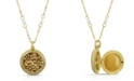 2028 Gold-Tone Dipped Round Floral Locket with Imitation Pearl Chain Necklace