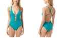 Vince Camuto Strappy Plunging One-Piece Swimsuit