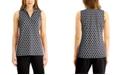 Charter Club Printed Half-Zip Sleeveless Top, Created for Macy's