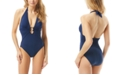 Carmen Marc Valvo Deep Ring-Front Plunging One-Piece Swimsuit