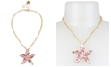 """Betsey Johnson Gold-Tone Crystal Cluster Starfish Pendant Necklace, 17"""" + 3"""" extender"""