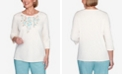 Alfred Dunner Plus Size Three Quarter Sleeve Floral Applique Knit Top