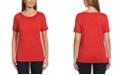 Rafaella Solid Slub Short Sleeve Tee Shirt with Lattice Trim