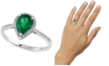 EFFY Collection Brasilica by EFFY® Emerald (9/10 ct. t.w.) and Diamond (1/6 ct. t.w.) Pear-Shaped Ring in 14k White Gold, Created for Macy's