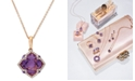 EFFY Collection Lavender Rosé by EFFY® Amethyst (5-3/4 ct. t.w.) and Diamond (1/5 ct. t.w.) Clover Pendant in 14k Rose Gold