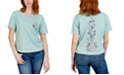 Rebellious One Juniors' Rose Back Graphic T-Shirt