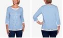Alfred Dunner Women's Plus Size Denim Friendly Floral Center Lace Top
