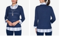 Alfred Dunner Women's Missy Denim Friendly Two for One with Ombre Stripe Woven Trim Sweater