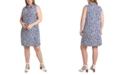 MSK Plus Size Printed Sleeveless Shirtdress