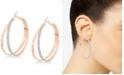 "GUESS Rose Gold-Tone 2"" Glitter Double Hoop Earrings"