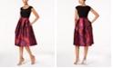 R & M Richards Belted Floral Brocade Fit & Flare Dress