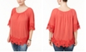 Style & Co Plus Size Off-The-Shoulder Crochet-Trim Top, Created for Macy's