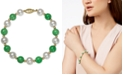 Macy's 14k Gold Bracelet, Cultured Freshwater Pearl and Jade