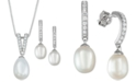 Macy's Cultured Freshwater Pearl (9 x 10mm & 7 x 9mm) & Cubic Zirconia Jewelry Set in Sterling Silver