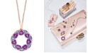 """EFFY Collection EFFY® Multi-Gemstone (4-1/4 ct. t.w.) & Diamond Accent Wreath 18"""" Pendant Necklace in 14k Rose Gold"""