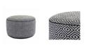 Klear Vu Maison Black and White Diamond Pattern Round Hand Knitted Ottoman Pouf