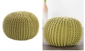 Jaipur Living Visby Green Textured Round Pouf
