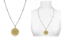 "Argento Vivo Two-Tone Flower Etched 18"" Pendant Necklace in Sterling Silver & Gold-Plated Sterling Silver"