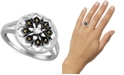 Macy's Marcasite & Crystal Openwork Statement Ring in Fine Silver-Plate