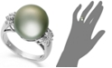 Macy's 14k White Gold Ring, Tahitian Pearl (12mm) and Diamond (1/4 ct. t.w.) Ring