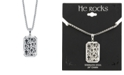 """He Rocks Cross Dog Tag 24"""" Pendant Necklace in Stainless Steel"""