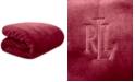 """Lauren Ralph Lauren Micromink Plush 66"""" x 90"""" Twin Blanket"""
