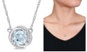 """Macy's Blue Topaz (1 ct. t.w.) and Diamond Accent Swirl 17"""" Necklace in 10k White Gold"""