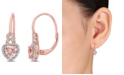 Macy's Morganite (1 ct. t.w.) and Diamond Accent Heart Earrings in 10k Rose Gold