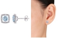 Macy's Blue Topaz (1 ct. t.w.) and Diamond Accent Halo Square Stud Earrings in 10k White Gold