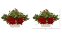 "Nearly Natural 24"" Poinsettia, Holly, Berry and Pine Artificial Arrangement in Planter"