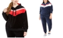 Tommy Hilfiger Plus Size Chevron Velour Hooded Sweatshirt
