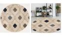 "KM Home CLOSEOUT! 3797/1005/BONE Imperia Ivory/ Cream 7'10"" x 7'10"" Round Area Rug"